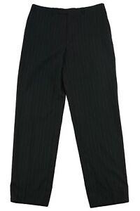 Canali Men Super 120's High Rise Trouser Suit Pants Wool Pinstripe Black Size 52