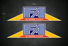 FA ALONSO Stickers/Decals - 2 x 200mm x 51mm - Karting - Go-Kart