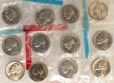 "Group Of Twelve 1960'S Nickels ""Uncirculated"" ""Assorted Dates"" In Mint Plastic"