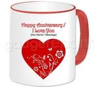 Personalised Love Red Heart & Flowers Love You Happy Anniversary Valentines Mug