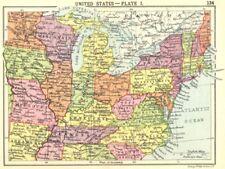 USA. stati Uniti-Plate I; Piccola Mappa 1912 VECCHIO ANTICO VINTAGE PIANO Grafico