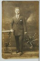 Rppc Handsome Young Man Poses in Studio for Portrait Postcard N14