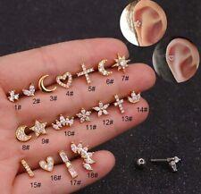 1pc Mini Diamonds Ear Climber Stud Bar Tragus Helix Piercing Post Earring Gift