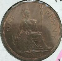 1940 Great Britain Penny - Nice Almost Uncirculated
