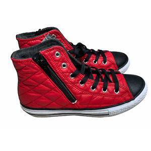 Converse Junior Red Black High top Side Zip Shoes Size 4US