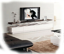 Forest 2200 Hi Gloss White TV Unit with Stainless Steel and Glass - BRAND NEW