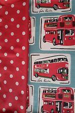 CAth Kidston bundle 2 * 47cm SQUARE london bus & large spots / red new