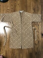 Vintage Christian Dior Terry Cloth Robe Made In Brazil One Size Geometric Logo