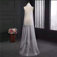 1 Tier Soft White Ivory Cathedral Length 2M Bridal Wedding Veil Cut/Plain Edge