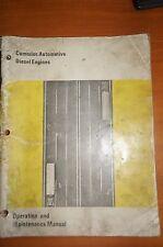 Cummins Automotive Diesel Engines Operation & Maintenance Manual