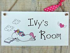 Personalised Name Plaque Door Nursery Bedroom Sign Gift Baby Girls Unicorn Room