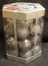 28 PIECE GLITERBALL SHATTERPROOF BALL CHRISTMAS ORNAMENT SET SILVER