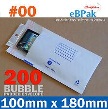 200 #00 Bubble Padded Bag Mailer Envelope 100mm x 180mm
