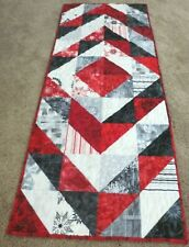 "Hand Made Quilted Table Runner/Topper ~Xmas~ 16"" x 40"" ~ 100% Cotton~ Red,Black"