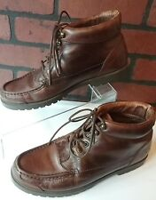 Natural Sport Brown Leather Boots Womens size 9 1/2  Med Lace Up Moc Toe