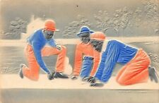 Vintage Postcard Black African American Boys Playing Marbles Embossed Painted
