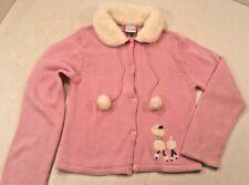 Disney Pink Cardigan Knit Sweater Faux Fur Collar French POODLE Dog Girl 7/8