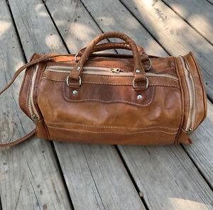 Vintage Brown Boho Leather Shoulder Gym Weekend Travel Duffle Bag Zip 3 Pockets