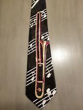 FloRence.. Beautiful Black with Trombone and Muscial Notes  Mens Necktie  #1-1