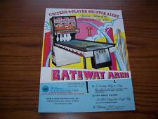 1972 UNITED GATEWAY ARCH SHUFFLE ALLEY ARCADE FLYER