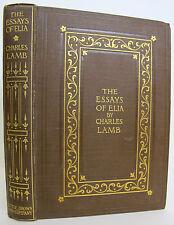 ESSAYS OF ELIA Charles Lamb ANTIQUE Color Illustrations CLASSIC Fiction BINDING