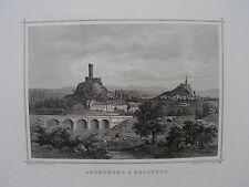 HESSEN ALTENBURG & FELSBERG Stahlstich 1860 groß