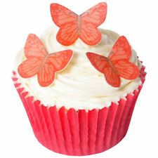 14 PRE-CUT stand-up EDIBLE Small Vivid Red Butterflies wafer decorations toppers