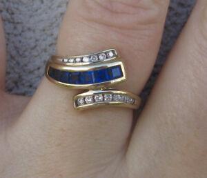 very pretty Sapphire Diamonds  9k Yellow Gold  Ring