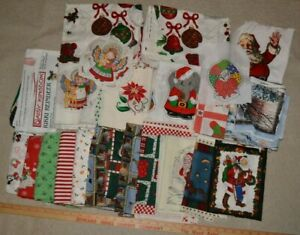 Lot of cotton fabric w/ Christmas theme: partly cut panels, blocks, small pieces