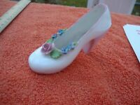 Vintage Denton China Small White Shoe With Pink Rose & Blue Bow