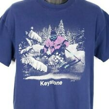 Keystone Ski Resort T Shirt Vintage 80s Downhill Skiing Colorado USA Size Large