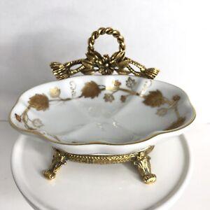 Vintage Gold Footed Trinket Dish Soap Dish Hollywood Regency Ring Holder Gilding