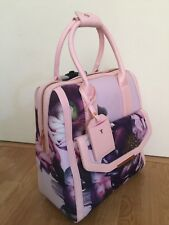 RARE Ted Baker London Pink Purple Floral 2 Wheel Suitcase Travel Bag case!