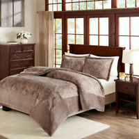 ULTRA SOFT PLUSH LUXURY COZY WARM TEXTURED MODERN TAUPE BROWN TAN COMFORTER SET