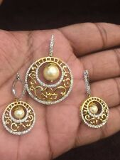 Classy 12.46 Carats Natural Pave Diamonds Pearl Pendant Earrings Set In 14K Gold