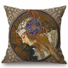 Mucha Byzantine Heads Pillow Cover Cotton Case Painting 17 x 17 Art Nouveau
