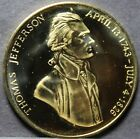 Thomas Jefferson 22k Gold Plated Medallion~Monticello~37.8mm~Free Shipping