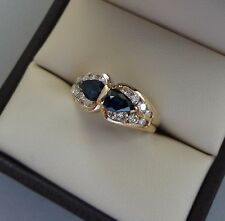 LOVELY 14K YELLOW GOLD .66 TCW 2 STONE SAPPHIRE RING W/ DIAMONDS - 4 GRAMS