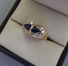 LOVELY 14K YELLOW GOLD .66 TCW 2 STONE SAPPHIRE RING W/ DIAMONDS - 4 GRAMS
