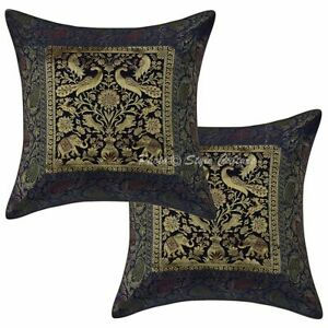 Ethnic Decorative Sofa Cushion Covers 16 x 16 Brocade Jacquard Elephant Set Of 2