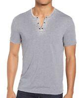 John Varvatos Star USA Men's Burnout Eyelet Henley Shirt Dark Indigo 2XL