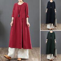 UK Womens Long Sleeve Cotton Linen Dress Casual Loose Kaftan Tunic Maxi Dresses