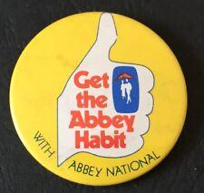 Vintage Abbey National Get the Abbey Habit Yellow Bank 4cm Pin Button B40