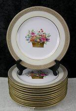 (12) Antique Copeland Spode Hand-painted Flower Basket Bone China Dinner Plates