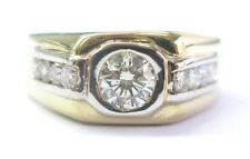 Fine Men's Round Cut Diamond Solitaire W Channel Setting Sides 1.80Ct 14KT Ring