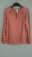 Chicos Womens Shirt Top Orange White Long Sleeves Rayon Size 0 S