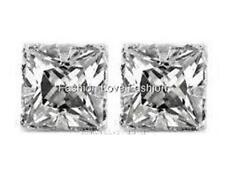 Clear Square CZ Cubic Zirconia Magnetic Clip On Stud Earrings Men Women 4mm 10mm