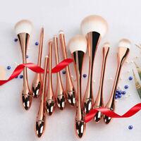 10PCS Rose Gold Professional Cosmetic Makeup Brush Eyeshadow Foundation Brushes