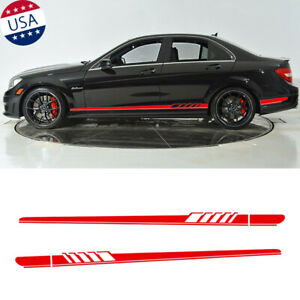 Red Side Skirt Stripes Decal Racing Trim for Mercedes Benz W205 S205 C63 AMG