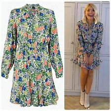 M&s Floral Tie Neck Elasticated Waist Mini Dress Size 16 EUR 44 Holly Willoughby